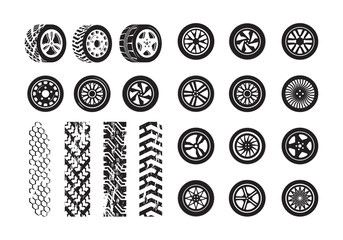 Tire texture. Car wheel rubber tires picture silhouettes vector template. Illustration tire and wheel rubber silhouette car