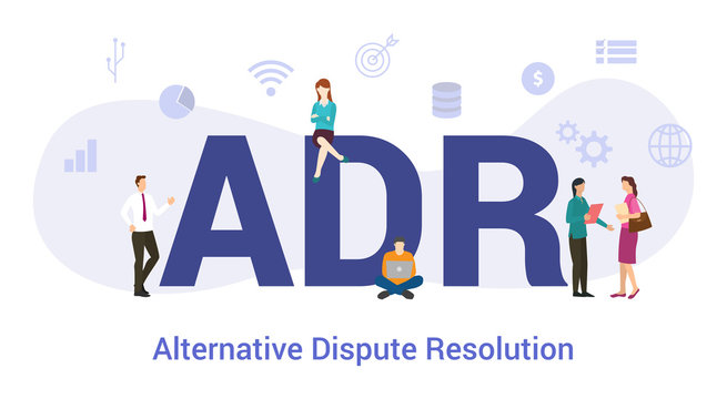adr alternative dispute resolution concept with big word or text and team people with modern flat style - vector