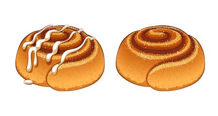 Cinnamon rolls set in cartoon style vector illustration.