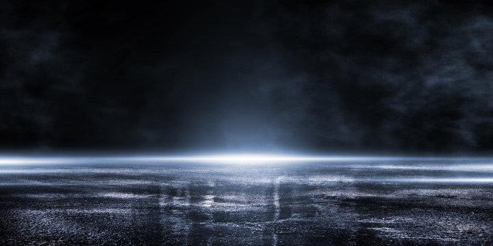 3D rendering abstract dark empty scene blue neon searchlight light wet asphalt smoke on black background