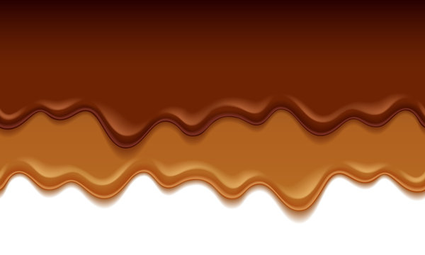 Molten chocolate drips - vector background.