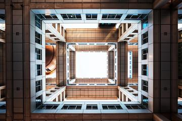 Bottom view on Headquarters of Fuji TV at Odaiba island, Tokyo, Japan