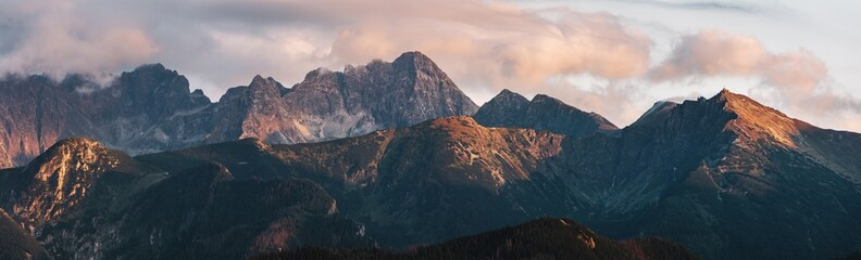 Campagne Mountain peaks at sunset. Tatra Mountains in Poland.