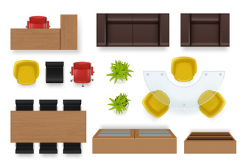 Office interior top. Modern business room topping views of furniture couch chairs desks wardrobe vector realistic objects. Office interior view top to furniture armchair, desk and sofa illustration