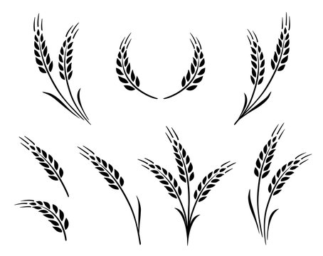 bakery set of wheat ears icon logo