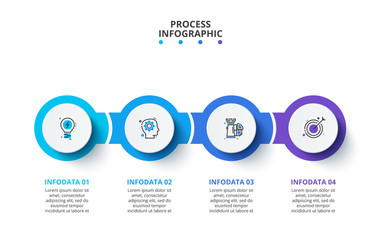 Creative concept for infographic. Business data visualization. Process chart. Abstract elements with 4 steps, options, parts or processes. Vector business template for presentation. Wall mural
