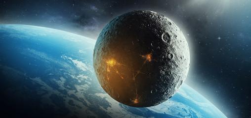 moon colonization futuristic space science fiction 3d illustration