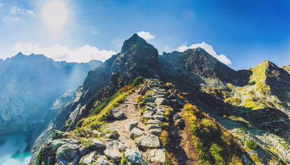 Hiking trail in Tatra mountains in Poland. Toward Koscielec peak