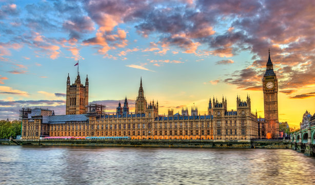 The Palace of Westminster in London at sunset, England