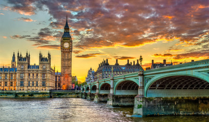 Garden Poster London Big Ben and Westminster Bridge in London at sunset - the United Kingdom