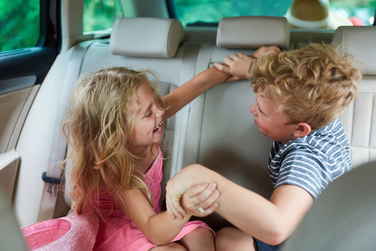 Siblings argue and fight in the car