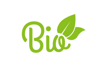 Fototapeta Bio icon or logo. Healthy food and product label with green leaves. Vector illustration. obraz