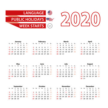Calendar 2020 in English language with public holidays the United State of America in year 2020.