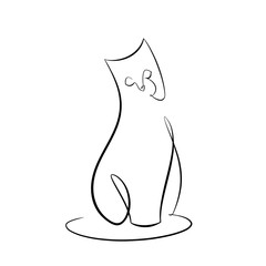 Foto auf AluDibond One Line Art Abstract, minimalistic, line art sitting cat figure. Hand drawn, one line, printable, wall art illustration.