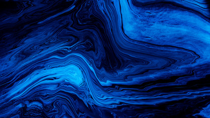 Blue Acrylic Pour Color Liquid marble abstract surfaces Design.