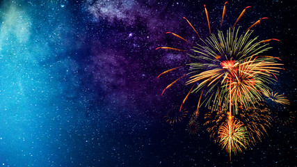 Fireworks with blur milky way background