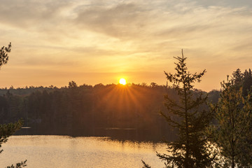 Sunrise at the lake in the Mauricie National Park in Canada. Quebec