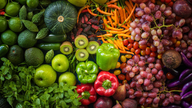 Top view different fresh fruits and vegetables organic on table top, Colorful various fresh vegetables for eating healthy and dieting