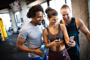 Friends making selfie in the gym after workout Fototapete