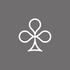 Poker playing card suit clover outline shape single icon. Clubs suit deck of playing cards used for ace in Las Vegas royal casino. Single icon illustration isolated on gray. Drawing pic for tattoo.