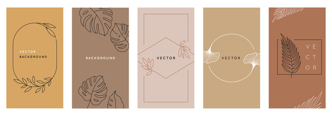 Vector design templates in simple modern style with copy space for text, flowers and leaves Fototapete