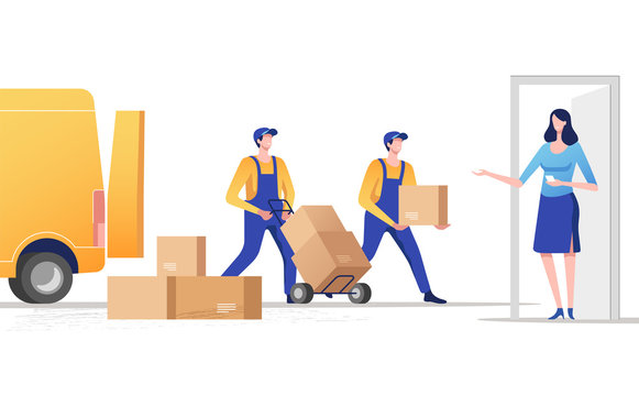 Concept of express delivery services. Delivery parcel to door. Vector illustration.