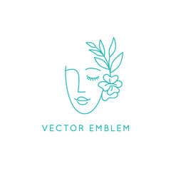 Vector abstract logo design template in trendy linear minimal style, emblem for beauty studio and cosmetics - female portrait, beautiful woman's face