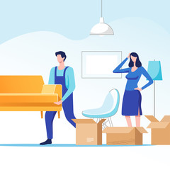 Moving home. Woman packing stuff to move to new house or apartment. Man carrying sofa. Vector illustration.