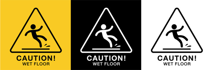 Obraz wet floor sign icon vector,3 background colors  - fototapety do salonu