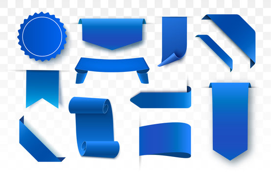 Blue blank tags, labels or badges.