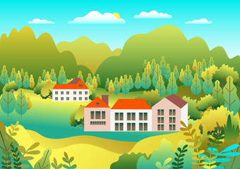 Poster Groene koraal Hills and mountains landscape, house farm in flat style design. Outdoor panorama countryside illustration. Green field, tree, forest, blue sky and sun. Rural location, cartoon vector background