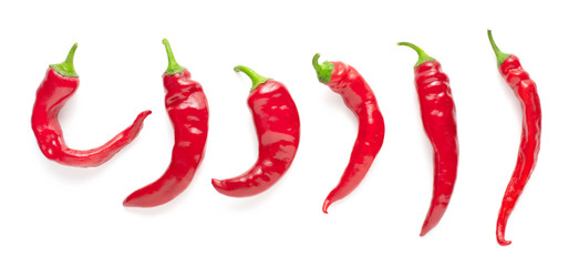 Tuinposter Hot chili peppers set of red chili peppers isolated on white background