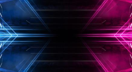 Abstract futuristic neon tunnel Dark room fluorescent bright purple and pink neon glow Virtual background space corridor shape tunnel