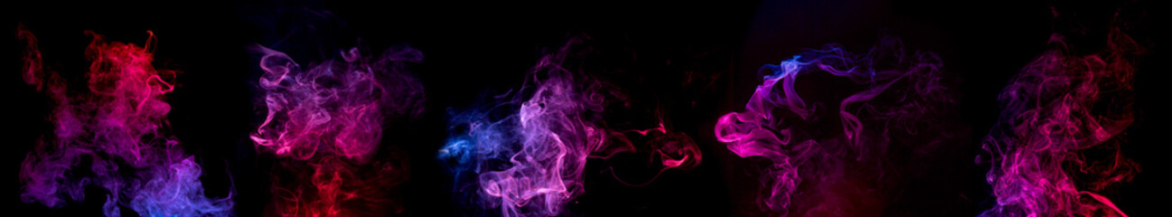 blue, red and purple swirls of smoke on black background.