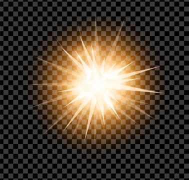 Bright glowing and shining star flares effect isolated on transparent  background. Vector illustration
