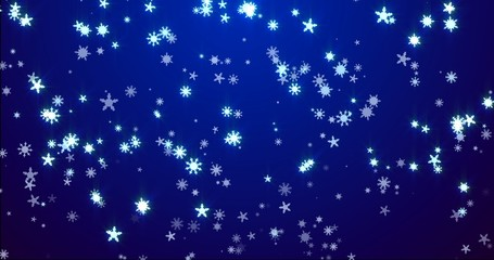 Christmas blue background with snowflakes - falling snow
