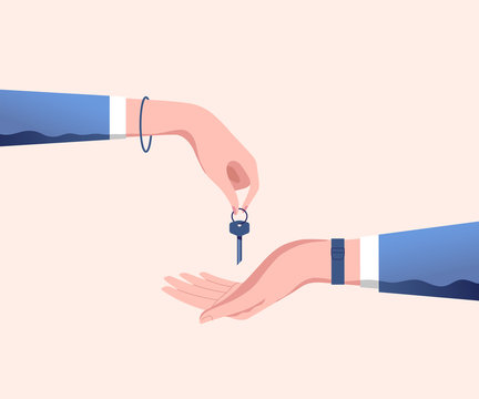 Hand of real estate agent gives house door keys to hand of customer. Buy, rental or lease a house. Vector illustration.
