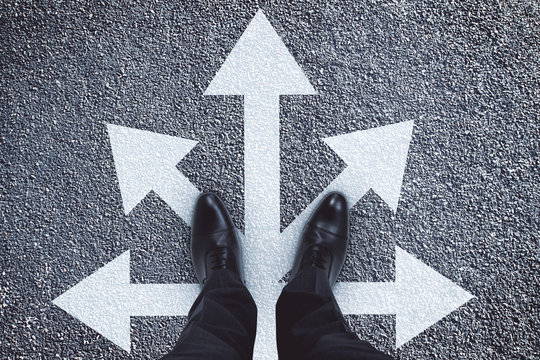 Different direction and leadership concept