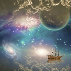 Sailing ship with full sails in fantastic space scene