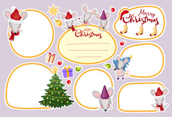 Collection of frame, stickers, labels. Patch with Christmas mice and New Year decorations. Part 3. Flat vector design.