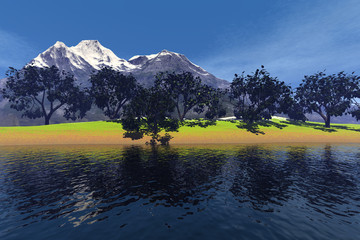Trees with green leaves, an autumnal landscape, reflection in the waters and a snowy mountain in the background.