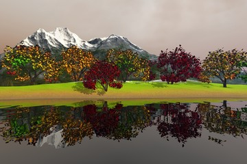 Beautiful trees with green yellow and red leaves, an autumnal landscape, nice reflection in the waters and a snowy mountain in the background.