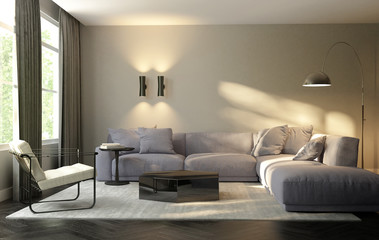 Contemporary modern living room with design furniture
