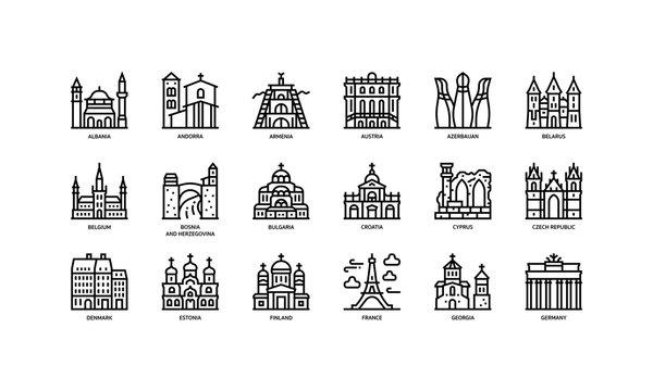 European cities landmarks icons set
