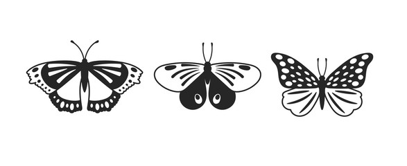 Butterflies vector glyph illustrations set. Tropical beautiful insects isolated on white background. Flying exotic bugs cliparts. Butterflies with dots and lines ornaments on wings design elements