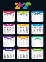 Vertical color pocket calendar on 2020 year, spanish. Week starts from Monday. Vector template calendar for business on black background.