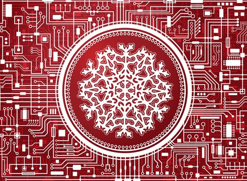 Red Christmas chipset background with huge white snowflake in the center. Holiday technology concept banner. Vector hi-tech new-year horizontal illustration.
