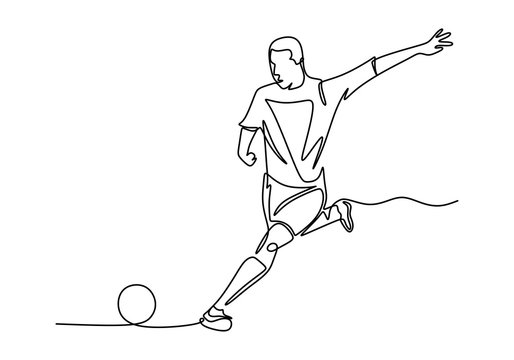 Vector of football player continuous one line drawing minimalism design.