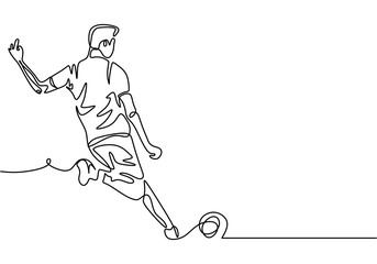 Continuous one line drawing of football player kick a ball during the game sport. Vector minimalism design isolated on white background.