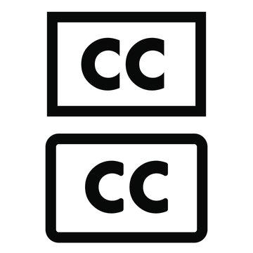 Closed captioning vector icon. cc illustration symbol or sign.